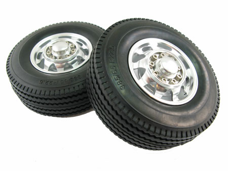Alloy Front Wheel & Tire set (2) for 3 Axle Reefer Semi Traile