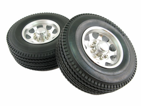 Alloy Rear Wheel & Tire set (2) for 3 Axle Reefer Semi Trailer