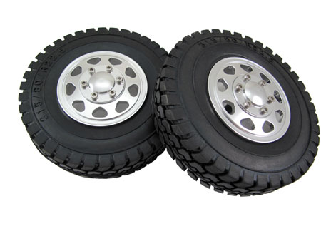 Alloy Front Wheel & Tire set (2) for Tractor Truck