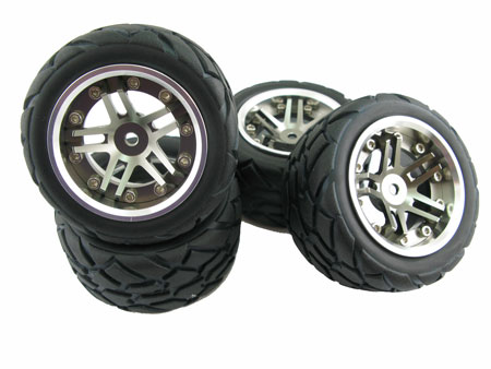3pc. Dual-5 spoke Alloy Wheel & Tire set (4) for 1/16 E-Revo VXL