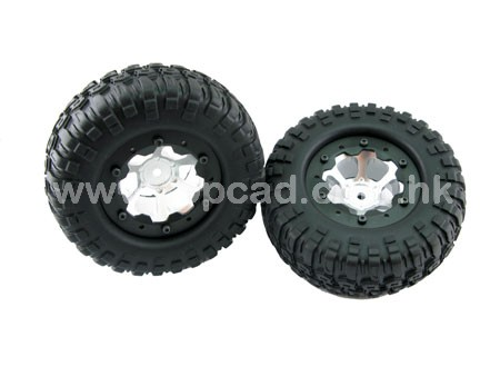 Alloy 1.9 6-spoke Wheel & Tire set pattern A for SCX-10