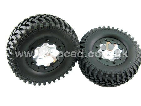 Alloy 1.9 6-spoke Wheel & Tire set pattern B for SCX-10