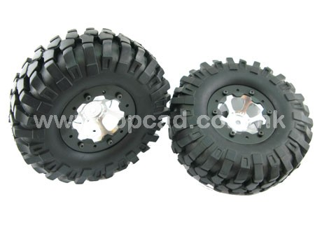 Alloy 1.9 6-spoke Wheel & Tire set pattern C for SCX-10