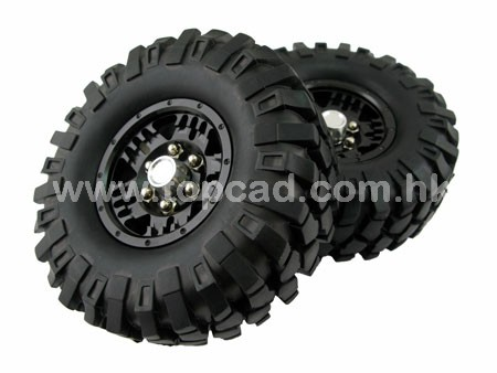 Alloy 1.9 Bead-lock Wheel & Tire Set (2) for SCX-10