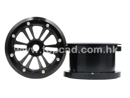 Alloy D-6spoke Bead Lock Wheels (2) for Wraith