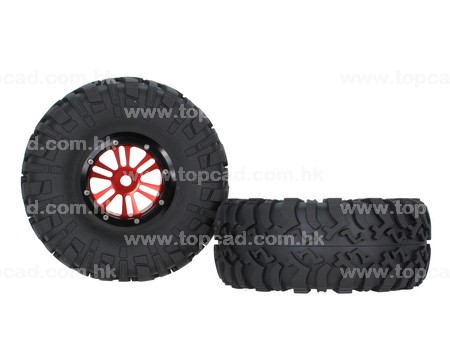 Alloy 2.2 D6-spoke Bead-lock Wheel & Tire Set (2) for Wraith