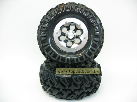 Alloy Outer Ring 2.2 Bead-lock Wheel & Tire Set (2) for Crawler