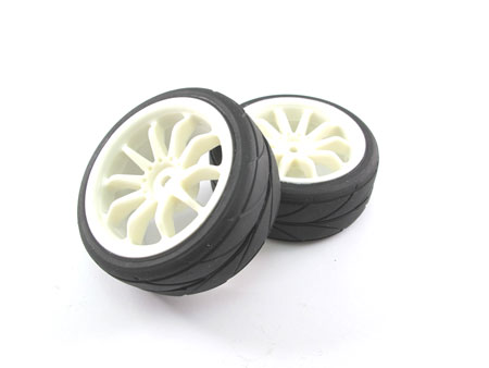 Wheel & Tire set 10-spoke / (2) for 1/10