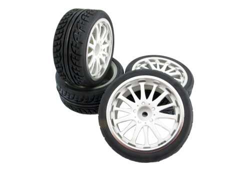 14-spoke Wheel & Tire set (4) for 1/10