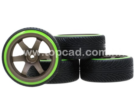 1/10 CE Drift Wheel & Radical Tire set 6-spoke / (4)