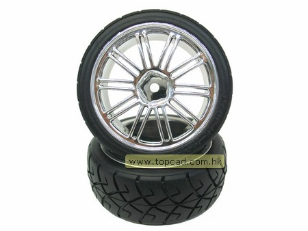 Wheel & Tire set dual 10-spoke / (2) for 1/10