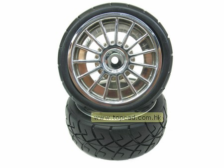 Wheel & Tire set 15-spoke / (2) for 1/10