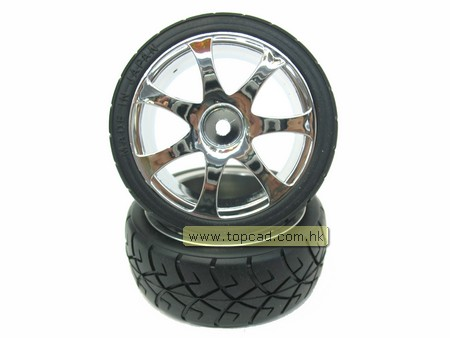 Wheel & Tire set 7-spoke / (2) for 1/10