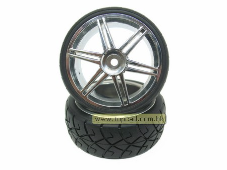 Wheel & Tire set dual 6-spoke / (2) for 1/10