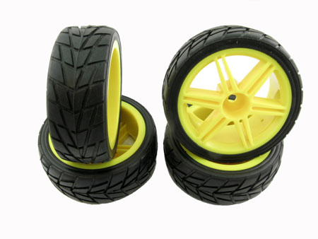 Wheel & Tire set Dual 6-spoke / (4) for 1/10