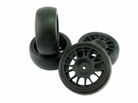 Wheel & Tire set / Slick 14-spoke (4) for 1/10