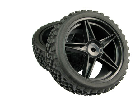 TopGrip R. Tire set for 1/10 Buggy / X-Blk, Star 5-spoke
