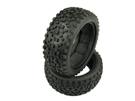 Cross Block Soft Tire for 1/10 Buggy / Rear (2)