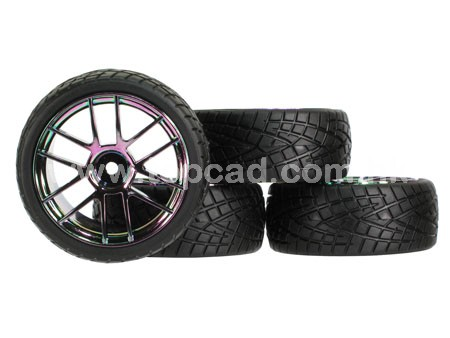 12-spoke Wheel & Tire set (4) for 1/10